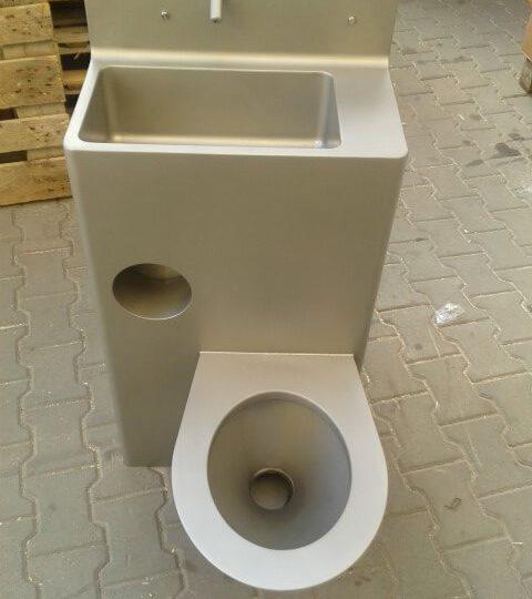 BSK 02 – Zestaw ze stali nierdzewnej odporny na wandalizm: wc + umywalka prostopadła